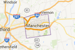 Manchester CT Locksmith service map